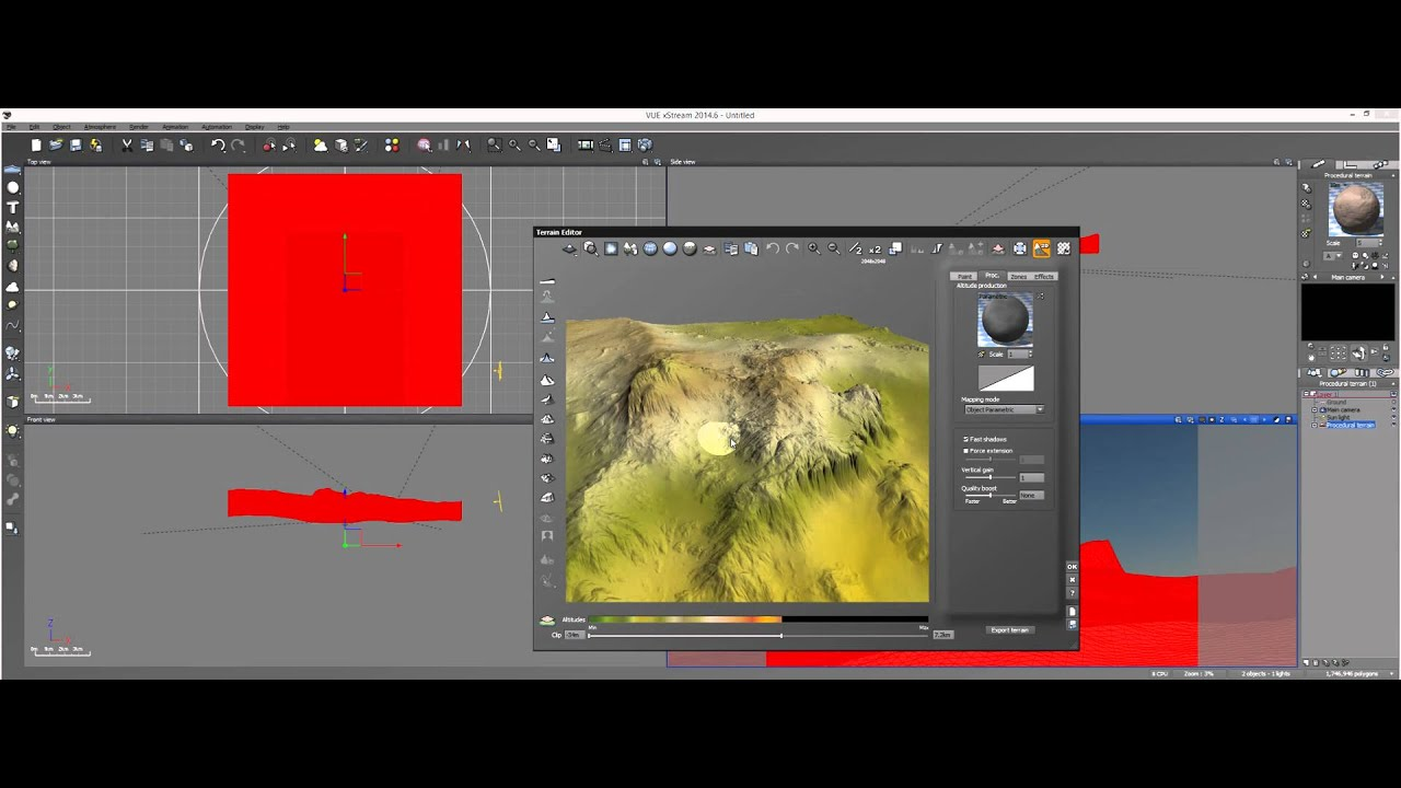 Vue Tutorial: Projected Texture Map and Fractal Blend