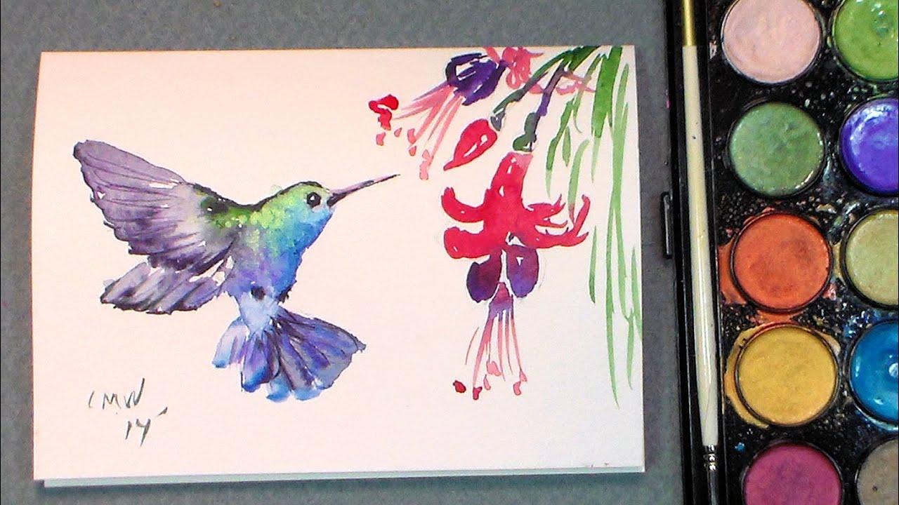 Paint a quick hummingbird in watercolors quick easy for How to use watercolors for beginners