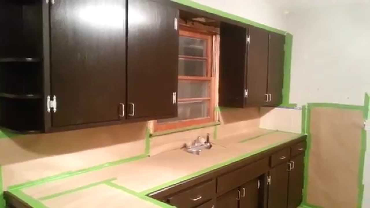 Kitchen Cabinets Remodel Cheap Valances For Java Gel Stain The In Rental Property. - Youtube