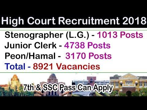 Bombay High Court Recruitment 2018 Stenographer, Clerk & Peon/Hamal at bhc.gov.in/bhcrecruitment