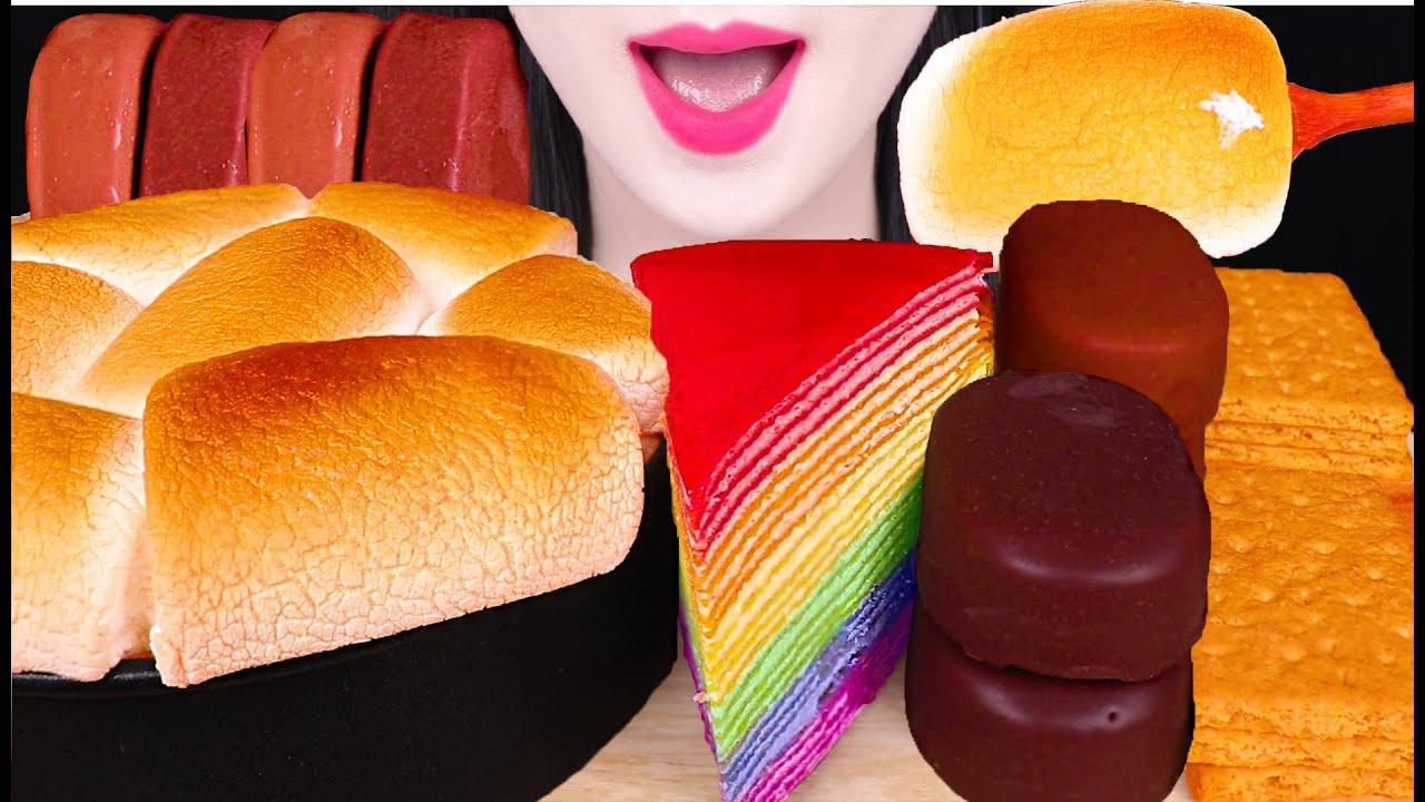 ASMR S'MORES DIP, CHOCOLATE ICE CREAM, RAINBOW CREPE CAKE 스모어딥, 초코 아이스크림, 크레이프 케이크 먹방 EATING SOUNDS