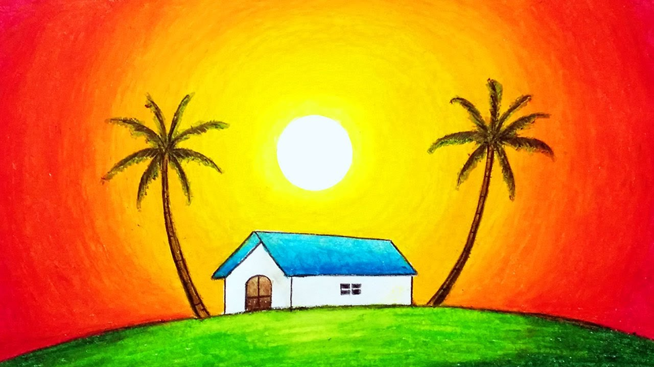 How to Draw Easy Scenery of Beautiful Sunset | Simple Nature Scenery Drawing