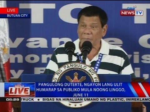 Pangulong Duterte, ngayon lang ulit humarap sa publiko mula noong Linggo, June 11