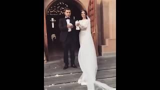 Жених и невеста выпускают голубей возле армянской церкви / Армянская свадьба и венчание 2017