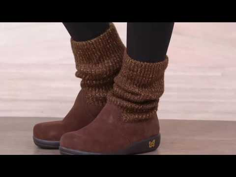 fb5eb378eda Alegria Suede and Knit Foldover Boots - Juneau on QVC - YouTube