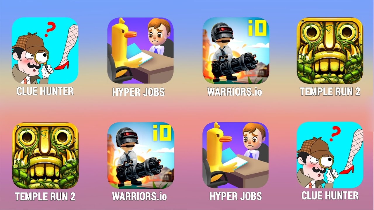 CLUE HUNTER, Hyper Jobs, Warriors.io, Temple Run 2 Walkthrough (iOs, Android) |  Power of Gameplay