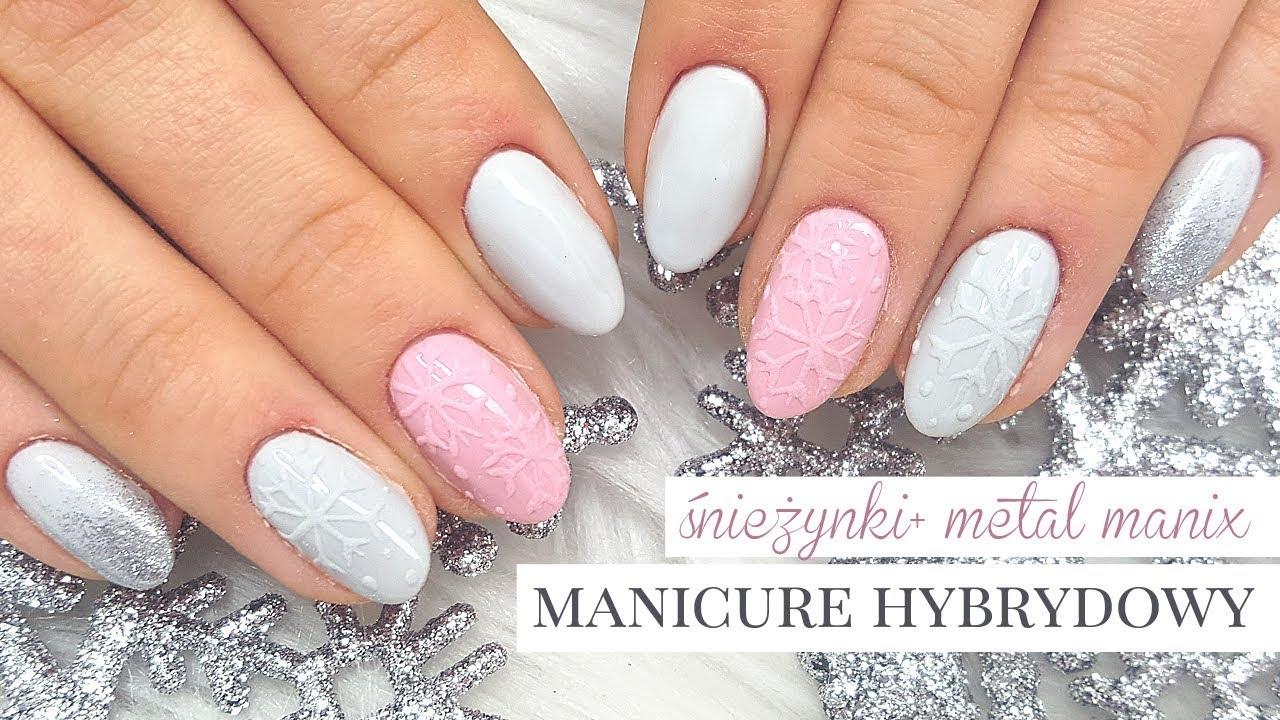 Zimowy Manicure Hybrydowy Recznie Malowane Sniezki 3d Ombre