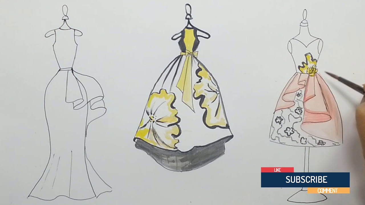 How To Draw Fashion Designs Teach Drawing Dress For Party Fashion Drawing Easy 27 Youtube