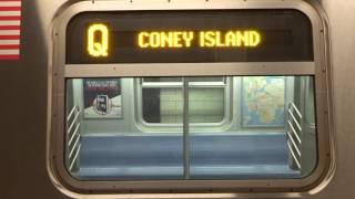 NYC Subway Late Night: R160 (Q) Exterior Destination Sign To Coney Island (VIA Whitehall-2017)