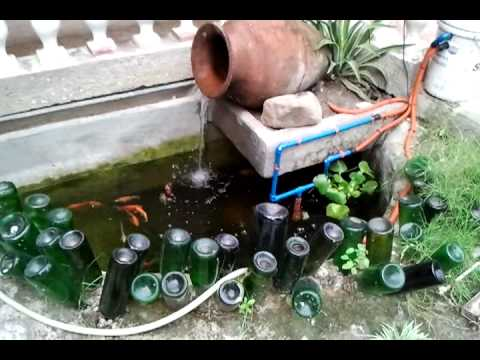 Fish pond diy barrel pond filter march 3 2011 youtube for Pond filter system diy