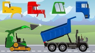 Street Vehicles Mini Bulldozer and Dump Truck with Colors and Wrong Cabin | Video For Kids