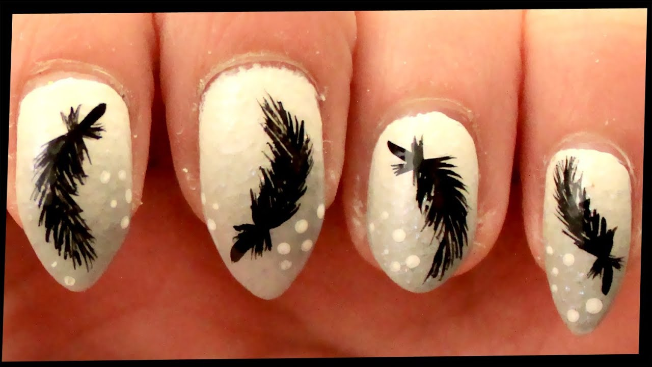 Black Feathers Nail Art Youtube