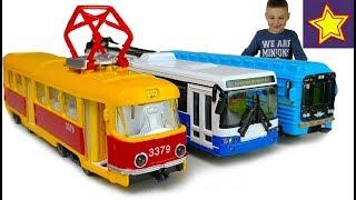 Машинки Трамвай Ситуация в городе Car toys for children