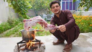Mutton Raan Recipe || Mutton Raan In Pressure Cooker In High Mountains Of Gilgit Baltistan
