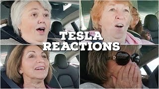 Cute Grandmas React To Tesla Model 3