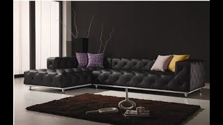 Tufted Leather Sectional Sofa
