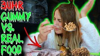 MACHE NIEMALS UM 3 UHR NACHTS DIE REAL VS. GUMMY FOOD CHALLENGE!! OMG SOO GRUSELIG