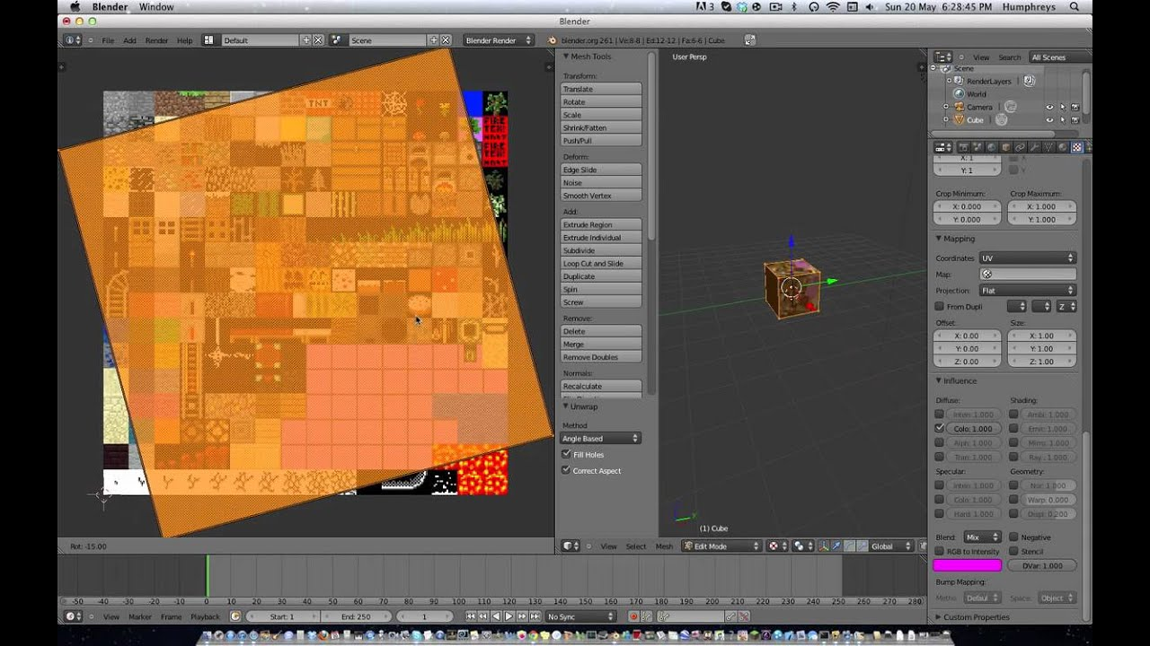 how to make a minecraft block in blender