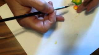 Watercolor Painting a holly leaf sketch