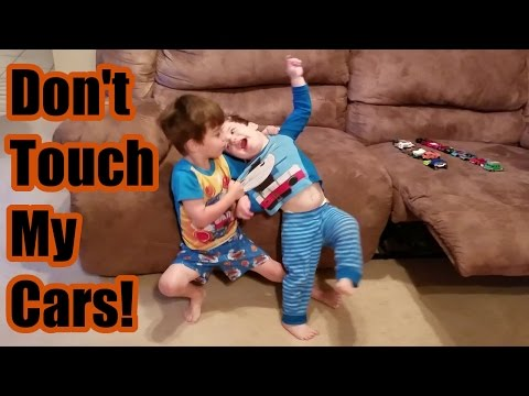 Brothers Fighting Over Toy Cars