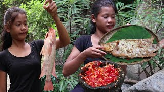Tasty Red fish Cooking with Peppers sauce for Lunch in The jungle