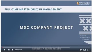 Nyenrode Full-time Master (MSc) in Management - Company Project