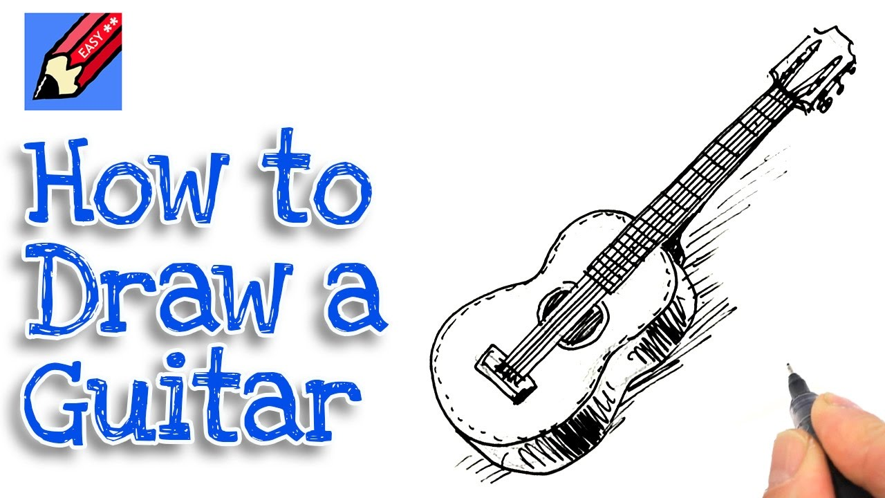 how to draw a spanish guitar real easy for kids and beginners youtube. Black Bedroom Furniture Sets. Home Design Ideas