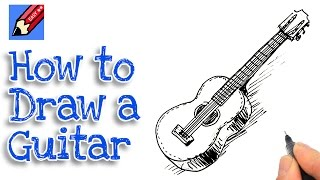 How to draw a Spanish Guitar Real Easy - for kids and beginners