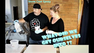 We try Stone Coat Epoxy on our Kitchen countertops. DIY