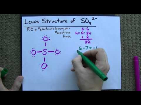 Lewis Structure of SO4(2-) (Sulfate) CORRECT - YouTube