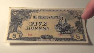 1942 5 Rupees from World War II Japanese Occupation of Burma