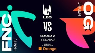 FNATIC VS ORIGEN | LEC | JORNADA 3 | Summer Split [2019] League of Legends