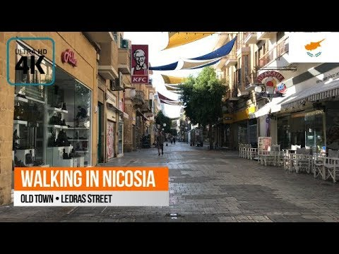 Walking in Nicosia: Ledras street (Old Town) 4K