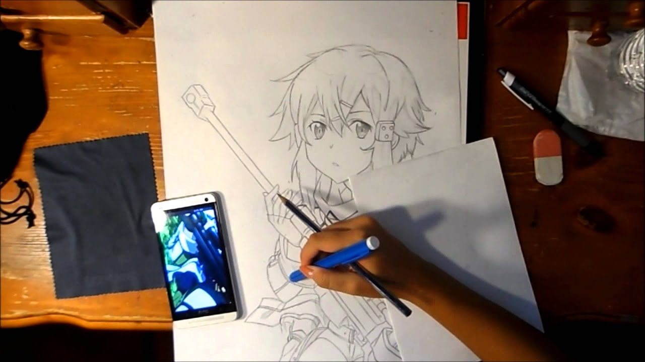 Sword Art Online 2 Sinon Speed Drawing Youtube
