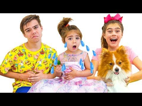 Настя Артем и Мия - веселая история про щенка Марти и гигантский слайм