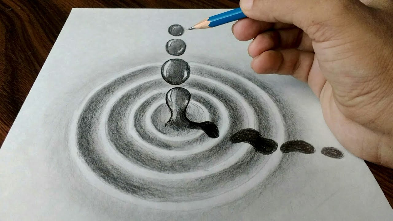 Water drop trick art drawing on paper