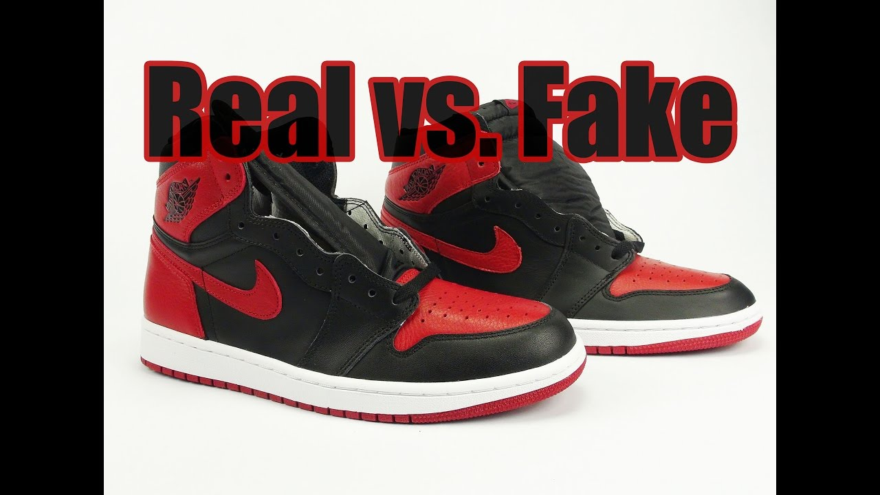 f05b6b54568a2 Real vs. Fake Air Jordan 1 Banned Bred 2016 Legit Check - YouTube