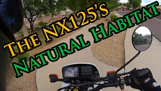Honda NX125 Enduro - Riding on Sidewalks