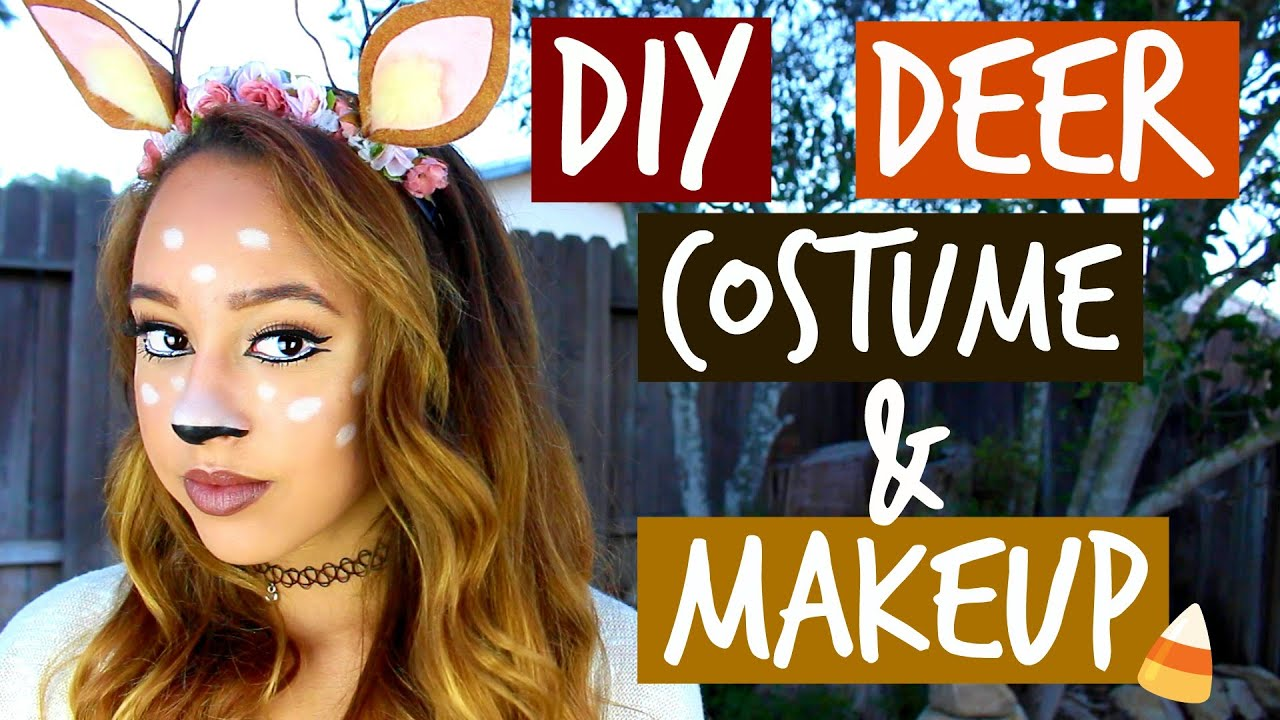 sc 1 st  YouTube & DIY DEER COSTUME u0026 MAKEUP (Halloween) - Maddie Ryles - YouTube