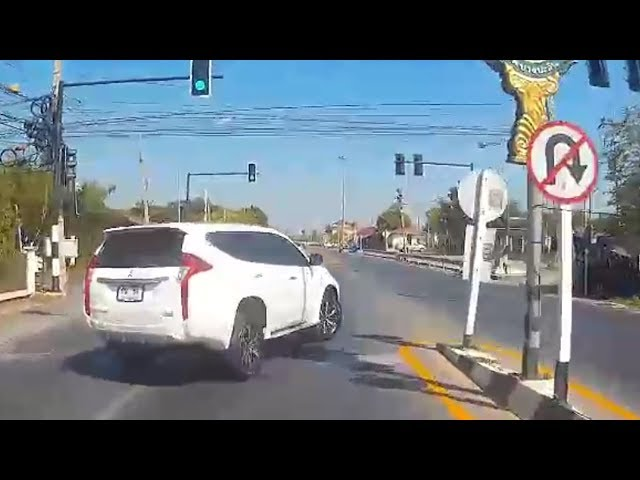 Instant Karma! Driver Ignores U-Turn Sign And Causes Crash