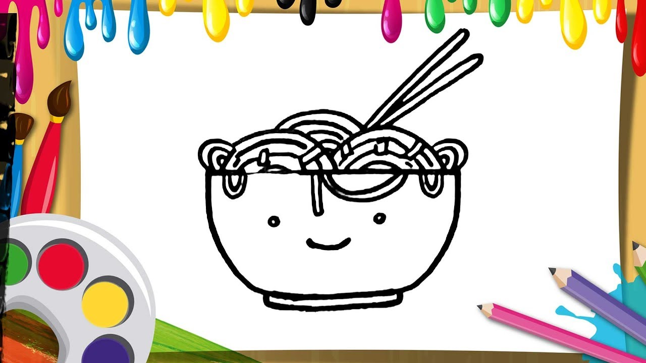 How To Draw Spaghetti For Kids Draw And Color Noodles With Cute Bowl