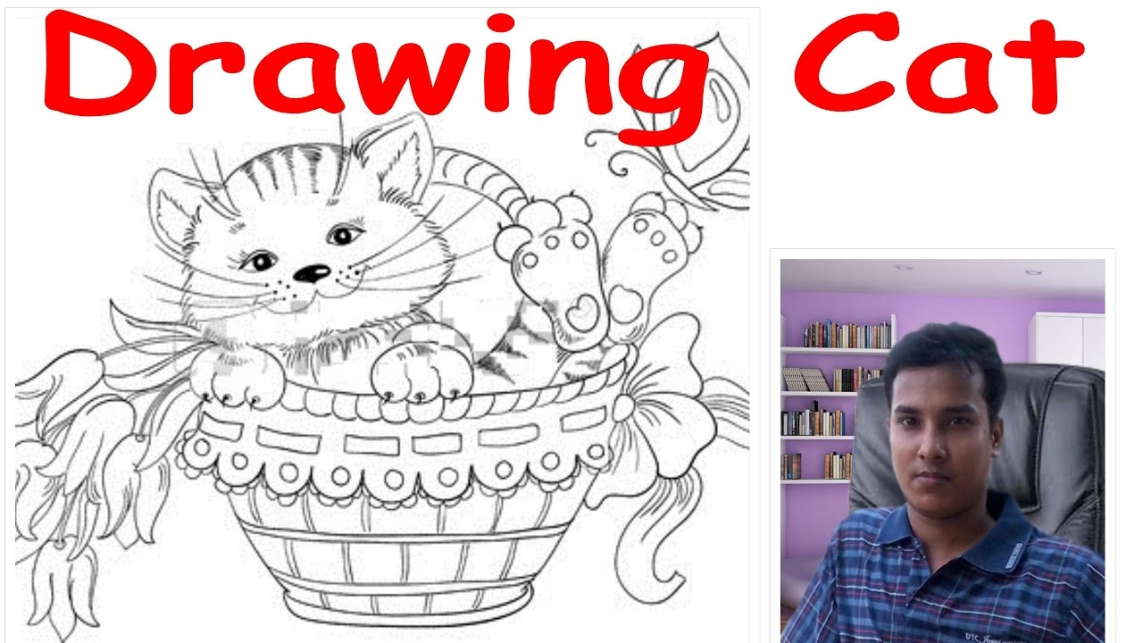 How To Draw A Cat In A Flower Basket