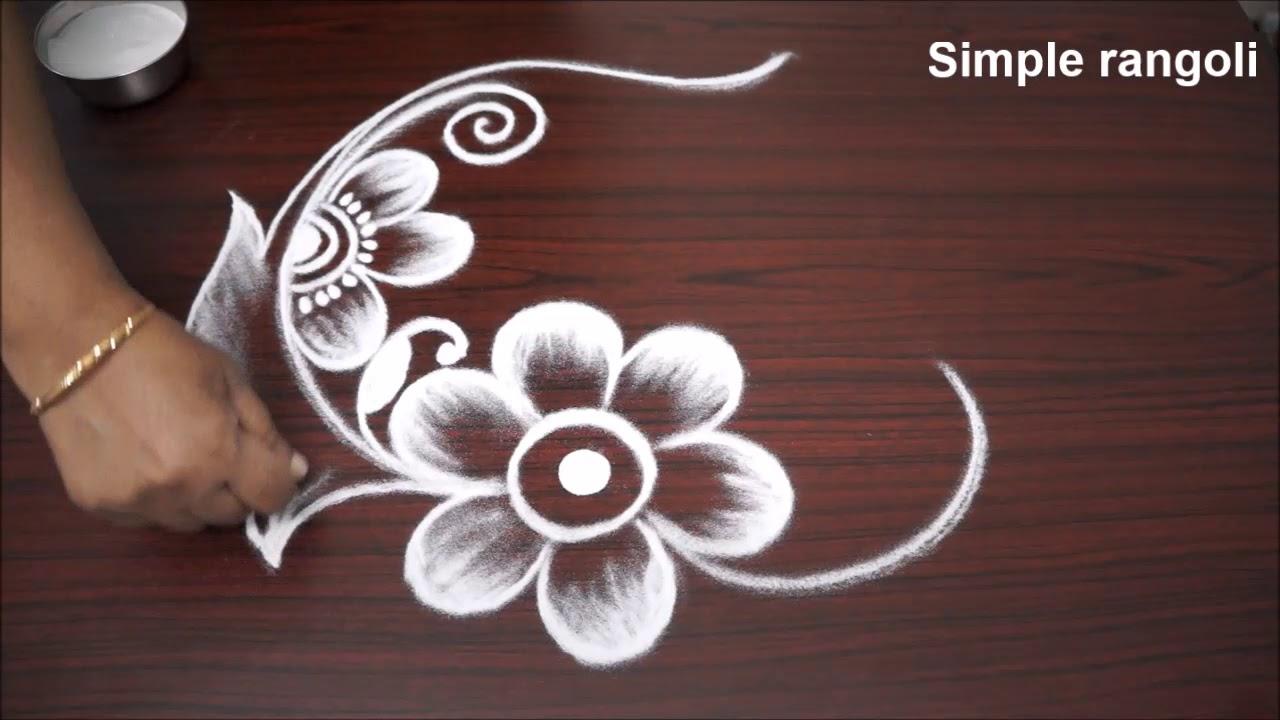 Frehand Flower Rangoli Designs With Out Dots Very Easy Flower Kolam For Kids Rangavalli 2018 Youtube