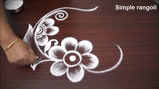 frehand flower rangoli designs with out dots *very easy flower kolam for kids *rangavalli 2018