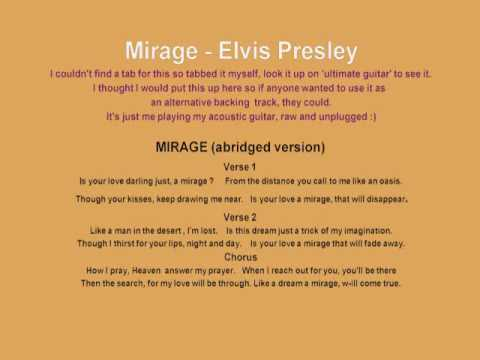 Acoustic backing track for Mirage by Elvis Presley played by Del Bradley