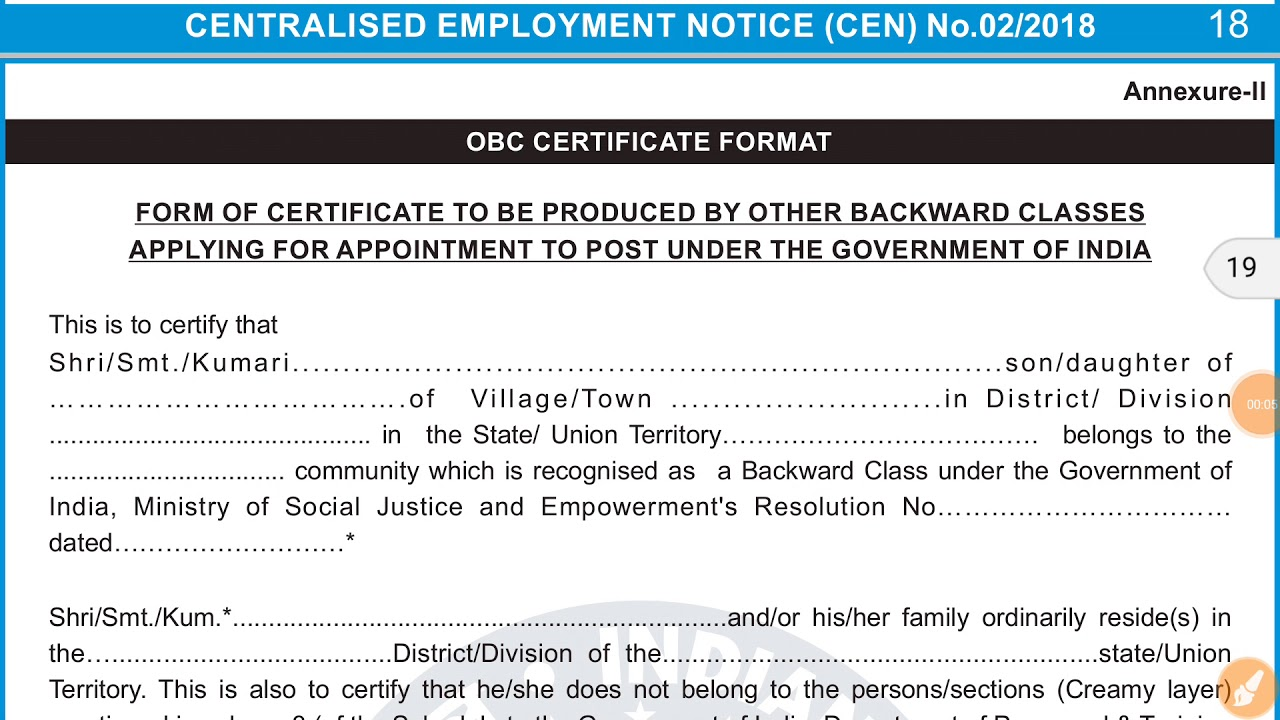 OBC Certificate Doubt/Two Formats/RRB ALP & Group-D 2018/In Hindi