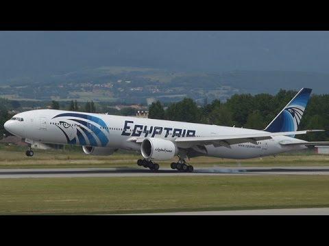 [FullHD] EgyptAir Boeing 777-300(ER) landing, taxi and takeoff at Geneva/GVA/LSGG