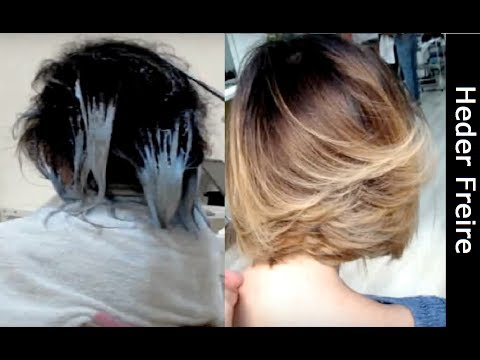 Ombre Hair , Free Hands , Long Bob Assimétrico Repicado , Antes e Depois