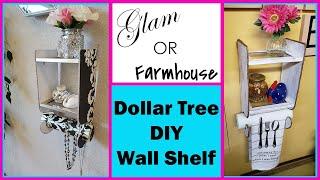 Glam or Farmhouse Hanging Wall Shelf Dollar Tree DIY Decor