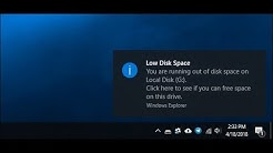 Windows 10 Low Disk Space and Recovery Drive Appeared After Update